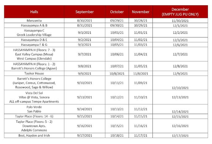 ASU Water Schedule